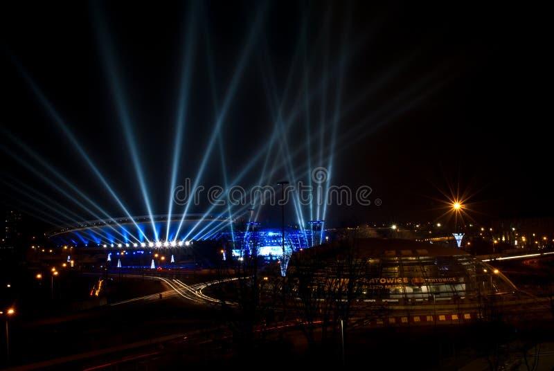 Spodek - deporte y arena cultural en Katowice, Polonia imagen de archivo