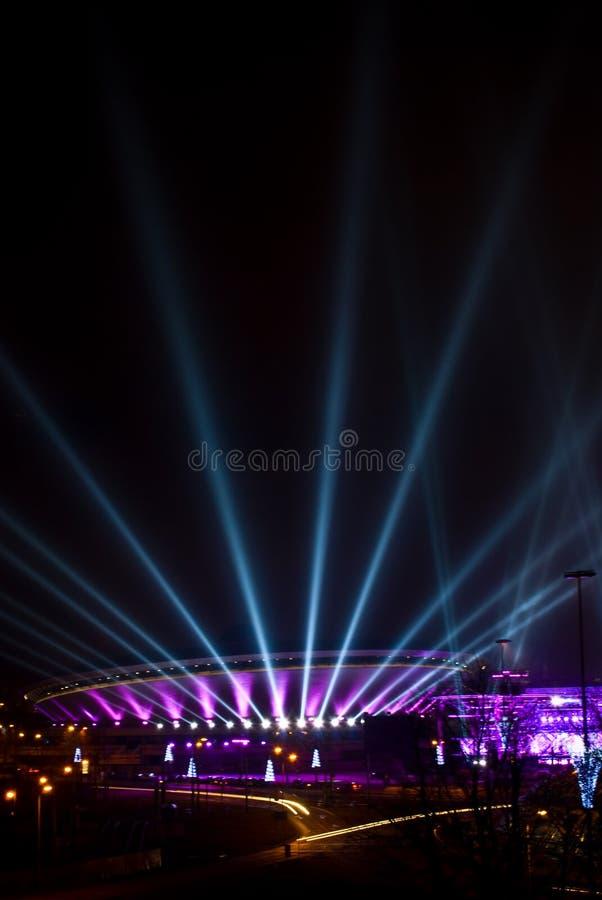 Spodek - deporte y arena cultural en Katowice, Polonia fotos de archivo