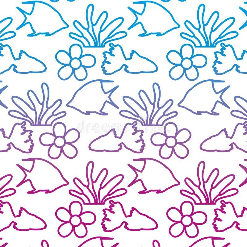 Spodlona kreskowa anioł ryba z gałęzatki i kwiatu tłem royalty ilustracja