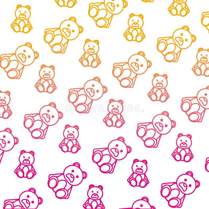 Spodlonego linia niedźwiedzia misia pluszowego śliczny zabawkarski tło royalty ilustracja
