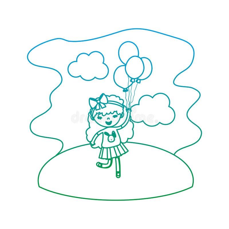 Spodlony kreskowy śliczny dziewczyny dziecko z balonami w krajobrazie ilustracji