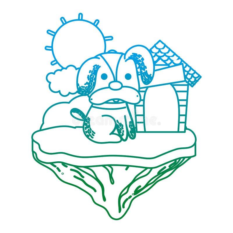 Spodlony kreskowy śliczny pies z domem w pływakowej wyspie ilustracji