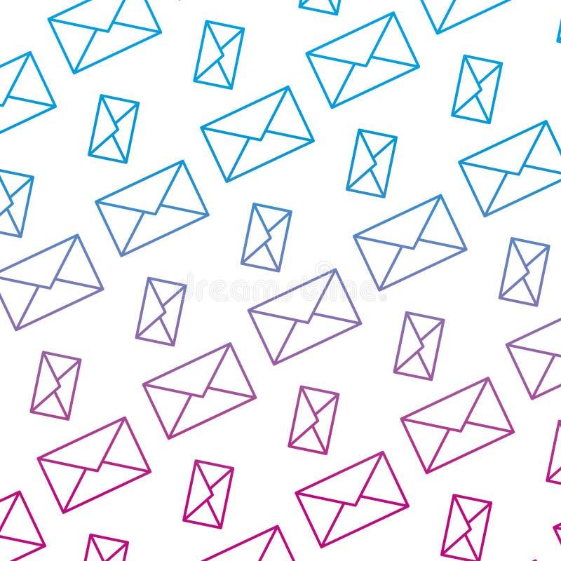 Spodlony kreskowy e-mailowy komunikacyjny wiadomości technologii tło royalty ilustracja