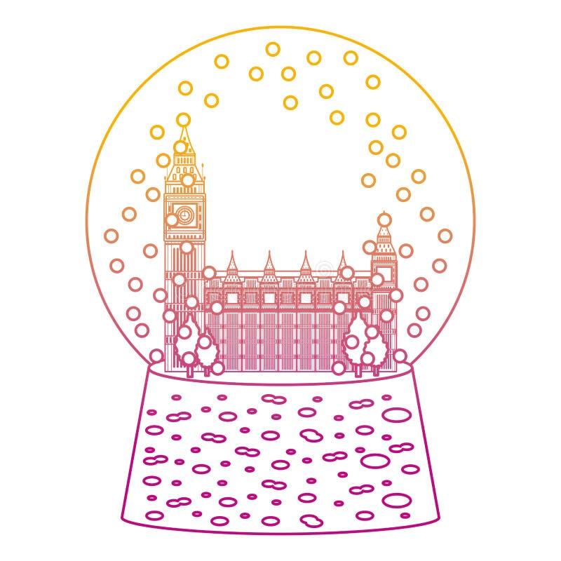 Spodlony kreskowy London zegarowy wierza wśrodku śnieżnego szkła ilustracji