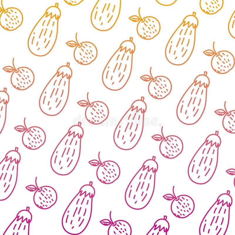 Spodlony kreskowy pomarańczowy owoc i oberżyny warzywa tło ilustracja wektor
