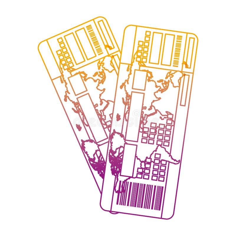 Spodlony kreskowy turystyczny bilet podróży samolotu wakacje royalty ilustracja
