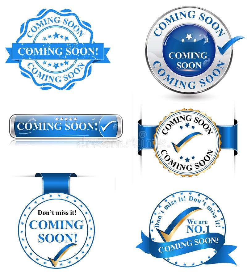 Spoedig komend etiketten, pictogrammen, kentekens royalty-vrije illustratie