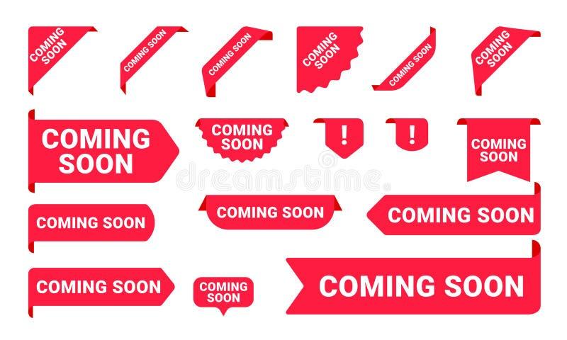 Spoedig komend promobanners, stickers en markeringsetiketten De vector isoleerde de rode roze winkel of opslagtekens van het bann vector illustratie