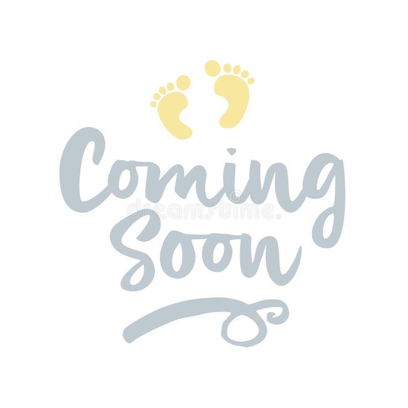 Spoedig komst? - vectorillustratie met babyvoetafdruk stock illustratie