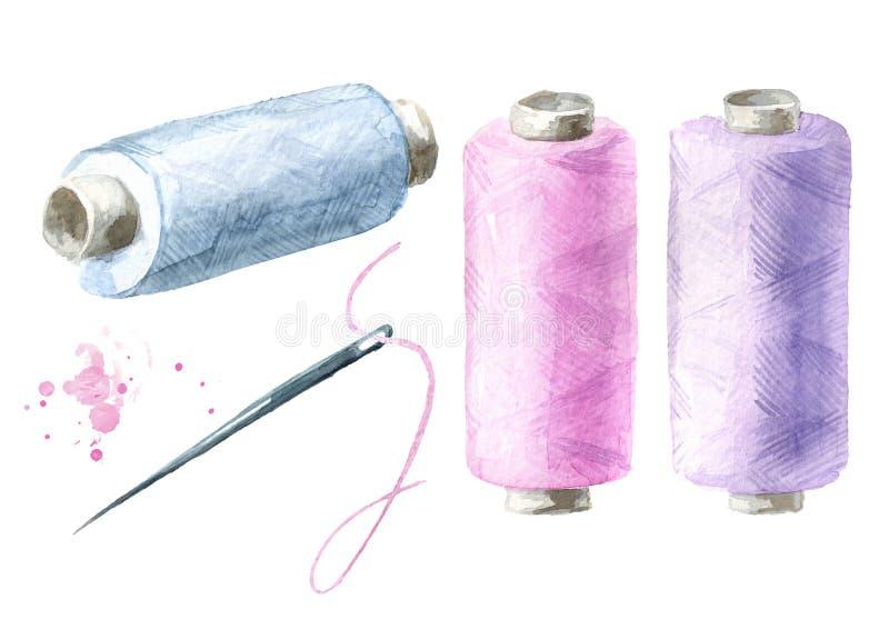 Spoel van draad en naaldreeks Waterverfhand getrokken die illustratie op witte achtergrond wordt ge?soleerd stock illustratie