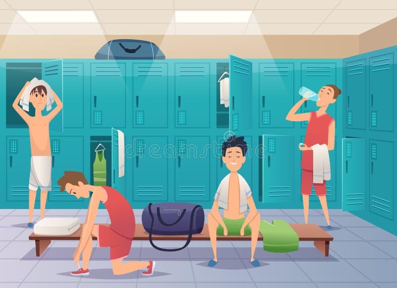 Spogliatoio della scuola Armadio della palestra di sport con i bambini nel fondo del fumetto di vettore dell'istituto universitar royalty illustrazione gratis
