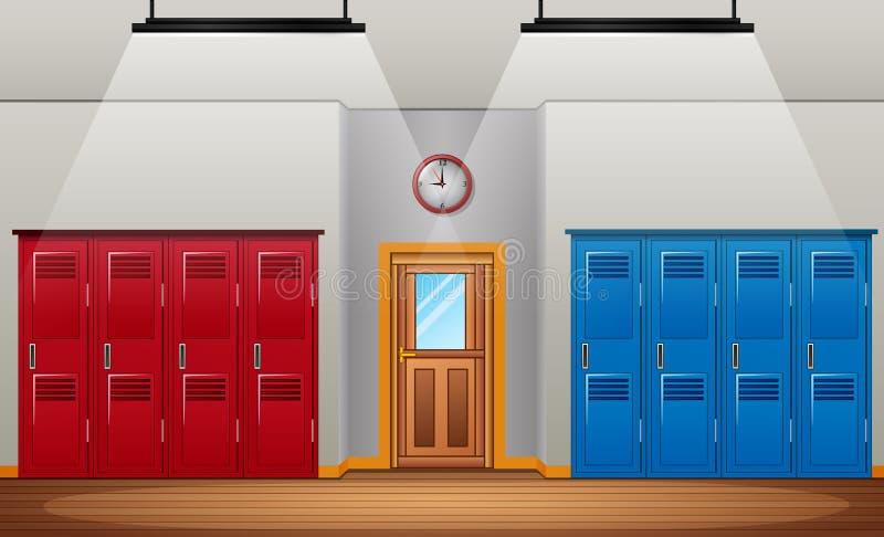 Spogliatoio dello spogliatoio di sport della scuola o della palestra e della porta di entrata illustrazione vettoriale