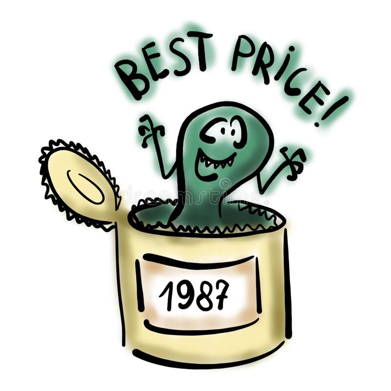 Spoiled canned food royalty free illustration
