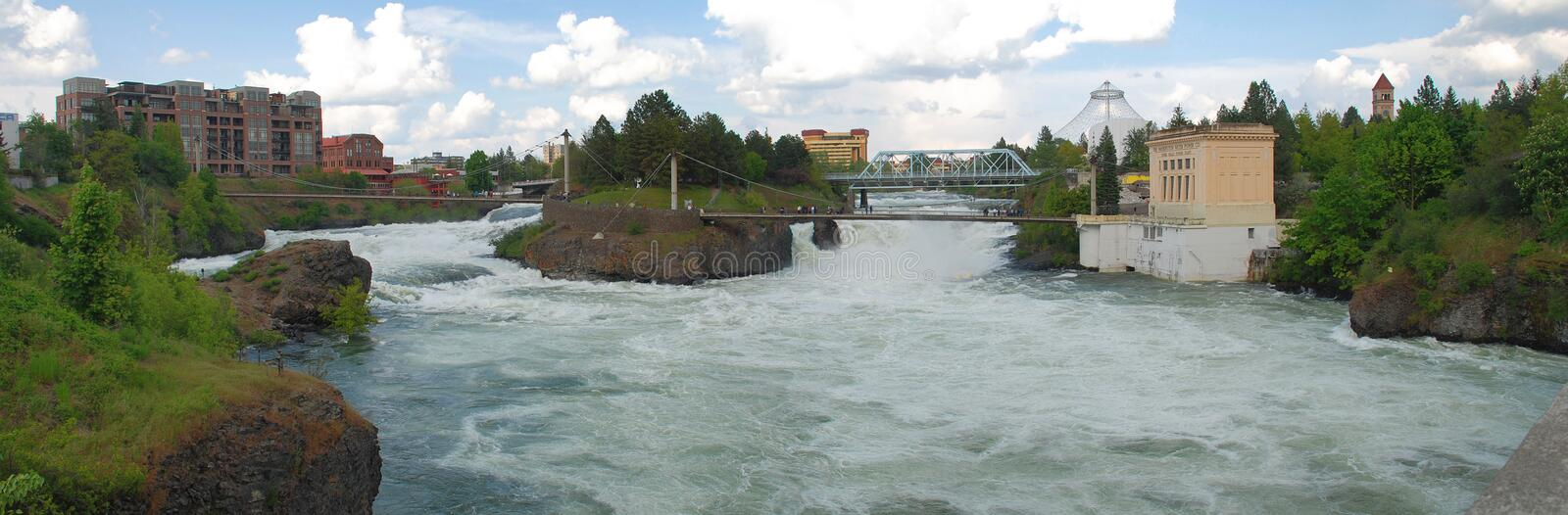 Spokane Falls - Spokane, Washington. Upper Falls of the Spokane River flowing through Downtown Spokane, Washington. It is one of just a few urban waterfalls in stock image