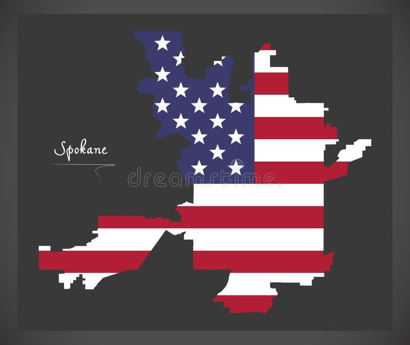 Spokane miasta Waszyngtońska mapa z Amerykańską flagi państowowej ilustracją ilustracja wektor