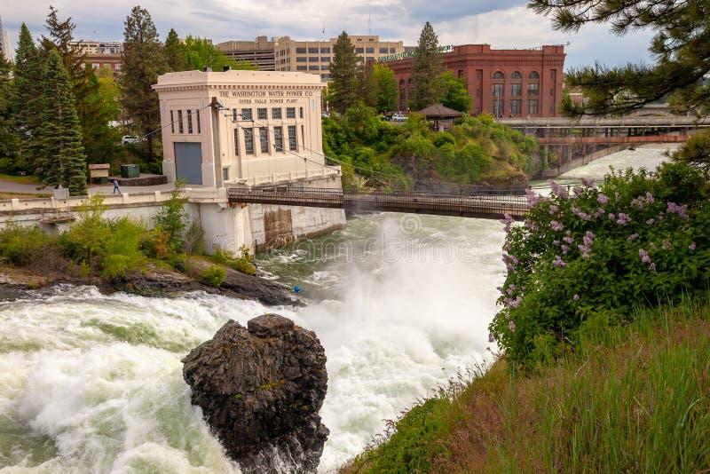 SPOKANE, WASHINGTON, DE V.S. - 16 MEI, 2018: De Washington Water Power Upper Falls-Elektrische centrale in Spokane van de binnens stock afbeelding