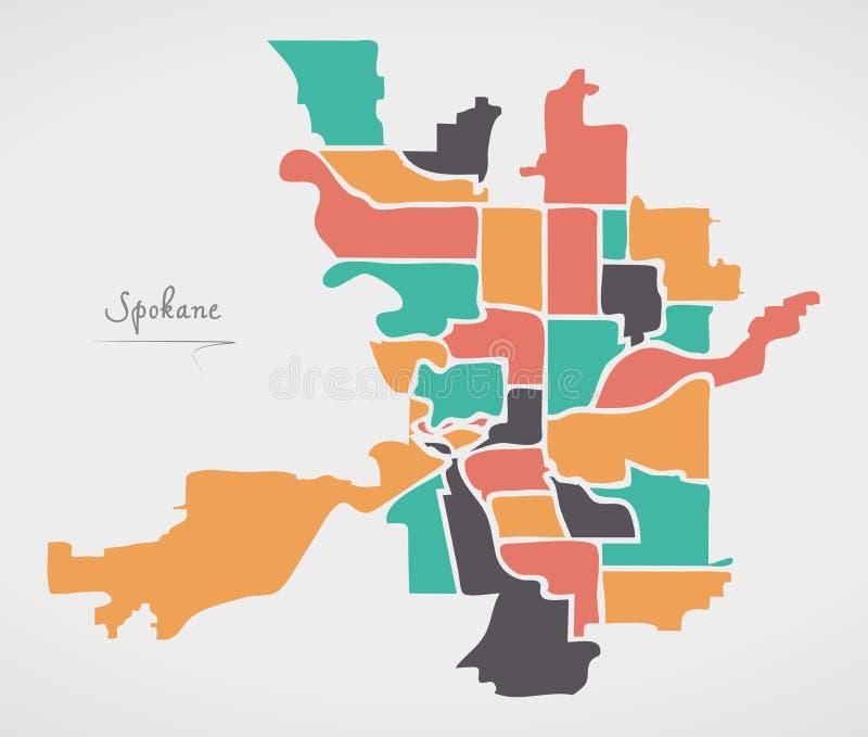Spokane Washington Map with neighborhoods and modern round shapes. Illustration royalty free illustration