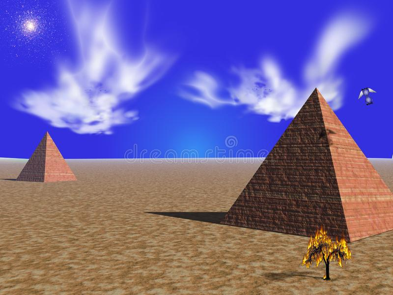Spoken over de piramides van Egypte stock illustratie
