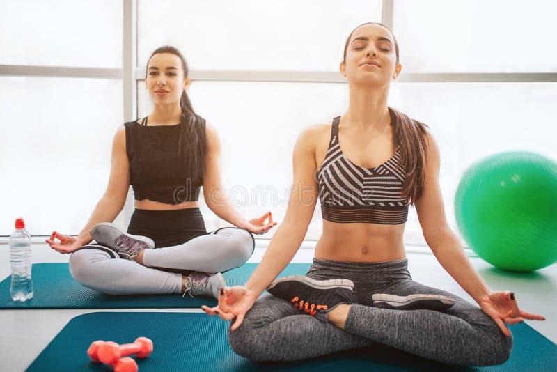 Spokojne i pokojowe młode kobiety siedzą na matrass i medytują Utrzymują oczy zamykają i trzymają głowy w górę Modele siedzą na l zdjęcia stock