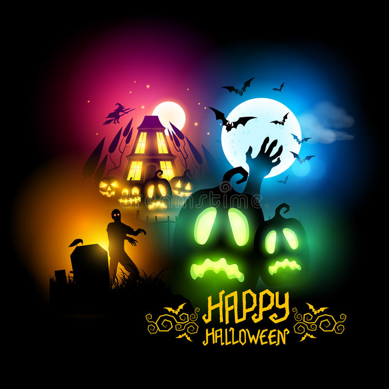 spokojnie redaguje noc Halloween obrazu wektora ilustracji