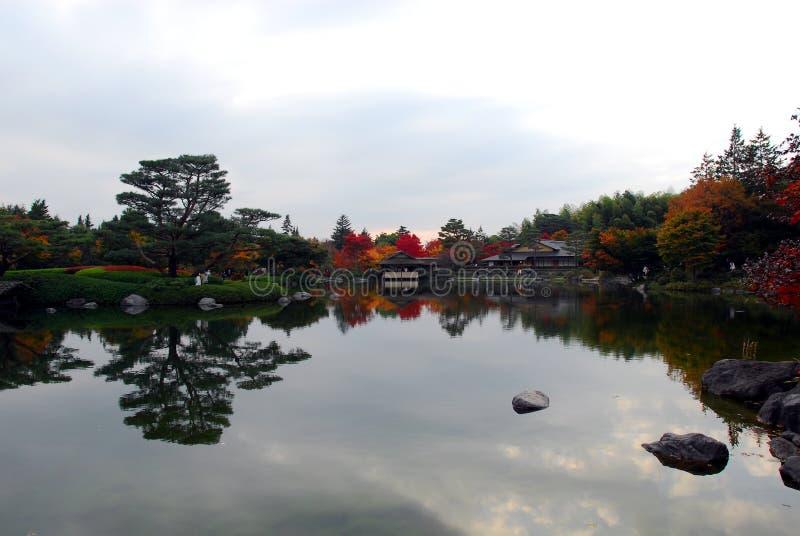 Spokojny jeziorny jesieni ulistnienie fotografia royalty free