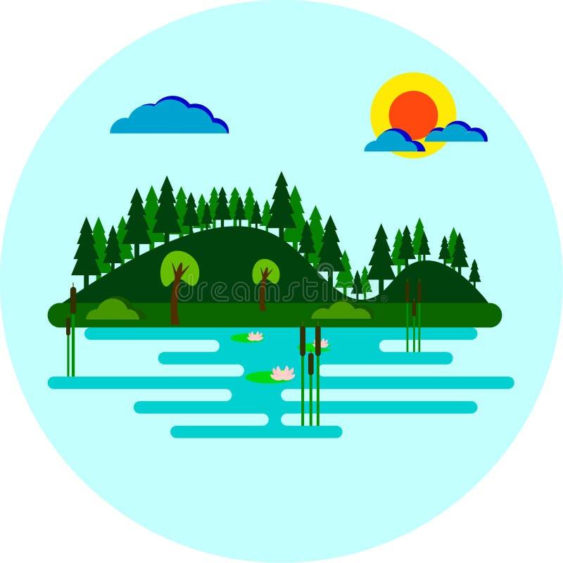 Spokojny jezioro z drzewami i las Zakrywającym zbocze Wektorowym Płaskim projektem royalty ilustracja