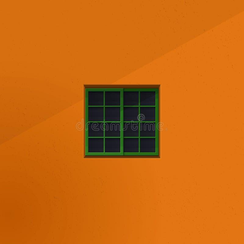 Spokojny pokój widzieć formularzowy outside nadokienny minimalistyczny ilustracyjny pojęcie zamknięty kwadratowy okno i słoisty k ilustracja wektor