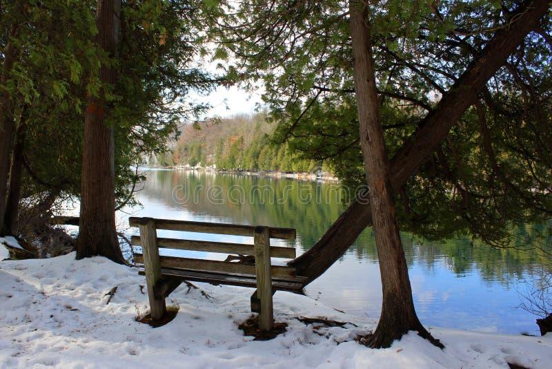Spokojny widok zima krajobraz błękitnej zieleni woda w jeziorze otaczającym pojedynczą drewnianą ławką, drzewami, krzakami i orna zdjęcia stock