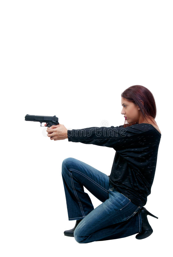 Spola della donna con la pistola fotografia stock