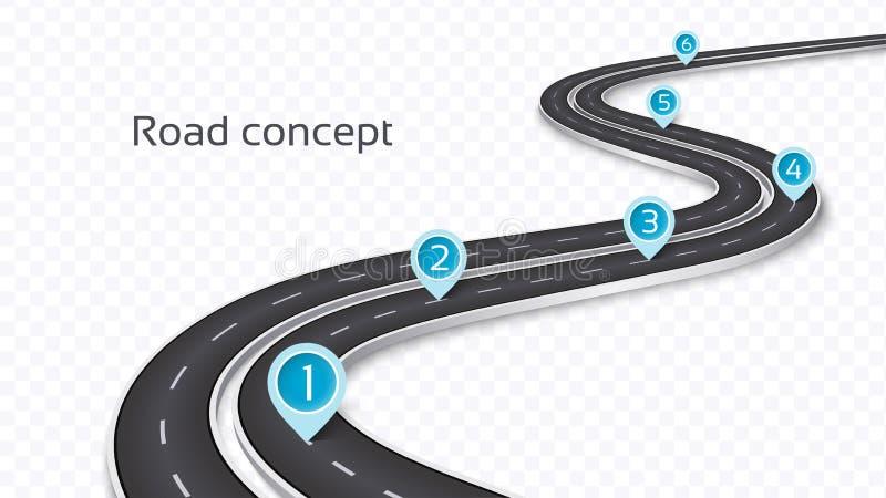 Spolande begrepp för väg 3D på en genomskinlig bakgrund Timelinete stock illustrationer