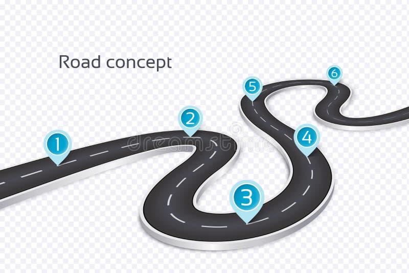 Spolande infographic begrepp för väg 3d på en vit bakgrund TimeL vektor illustrationer