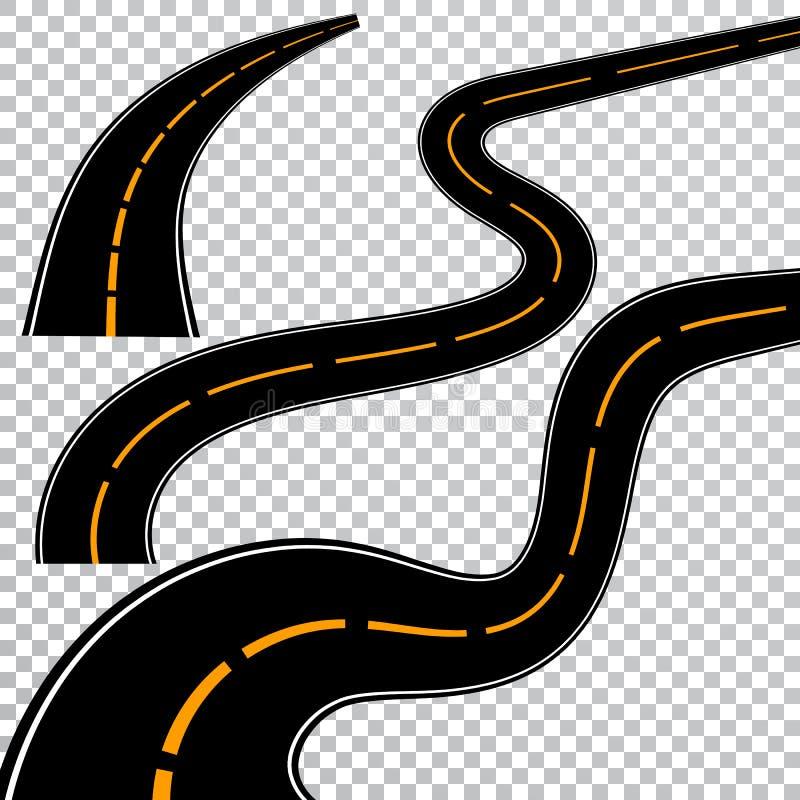 Spolande krökt väg eller huvudväg med teckning Riktning trans.uppsättning också vektor för coreldrawillustration royaltyfri illustrationer