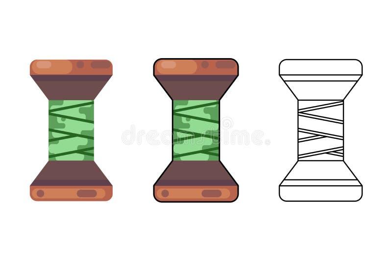 Spolen för rad för hjälpmedlet för hantverket för bomullsrulletråden syr för symbolsvektorn för torkduken den plana designen isol vektor illustrationer