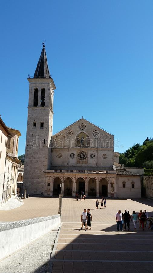 Spoleto & x28;italy& x29; place. Piazza di Spoleto & x28;Italy& x29; sun day stock images
