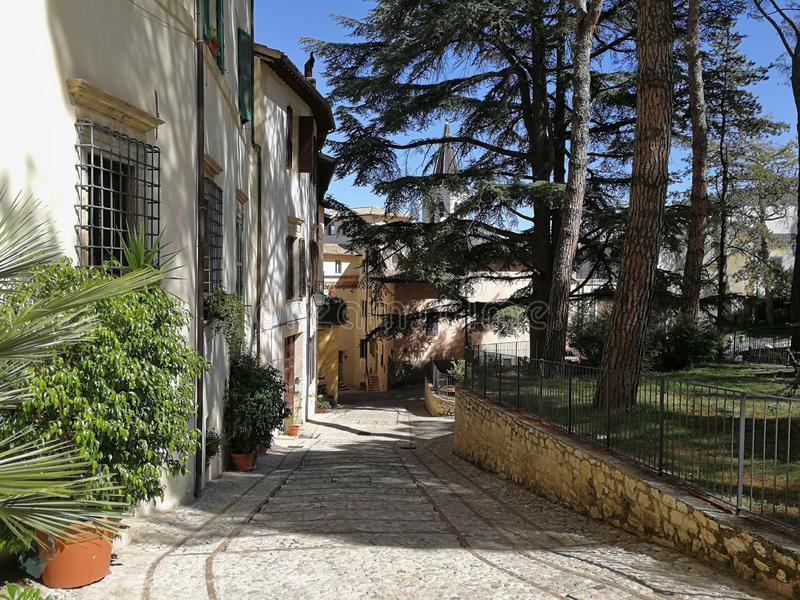 Spoleto - Scorcio di Piazza Campello. Spoleto, Umbria, Italy - 11 September 2019: Alley in the historic center royalty free stock photo