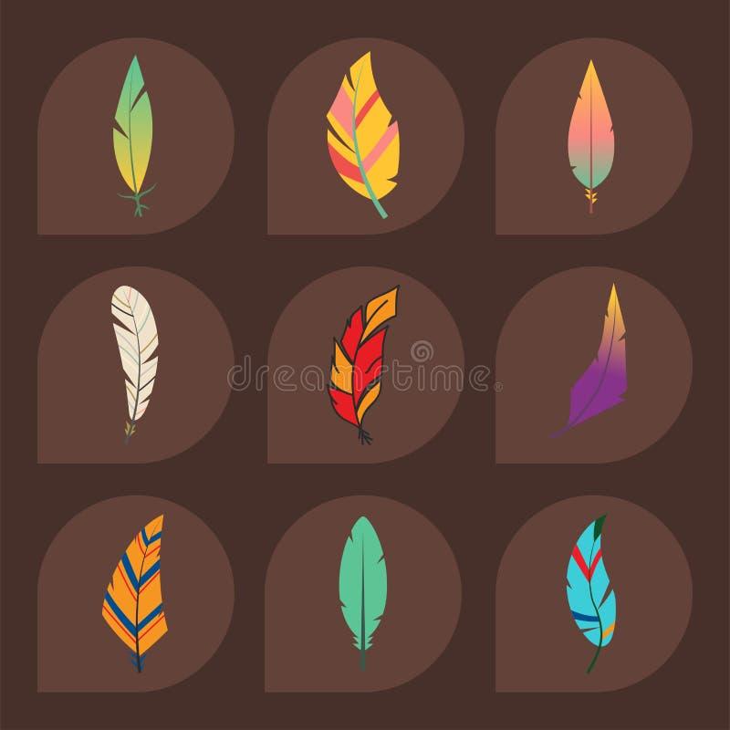 Spoletta decorativa della natura del disegno della piuma di stile dell'elemento disegnato a mano etnico variopinto d'annata diffe royalty illustrazione gratis