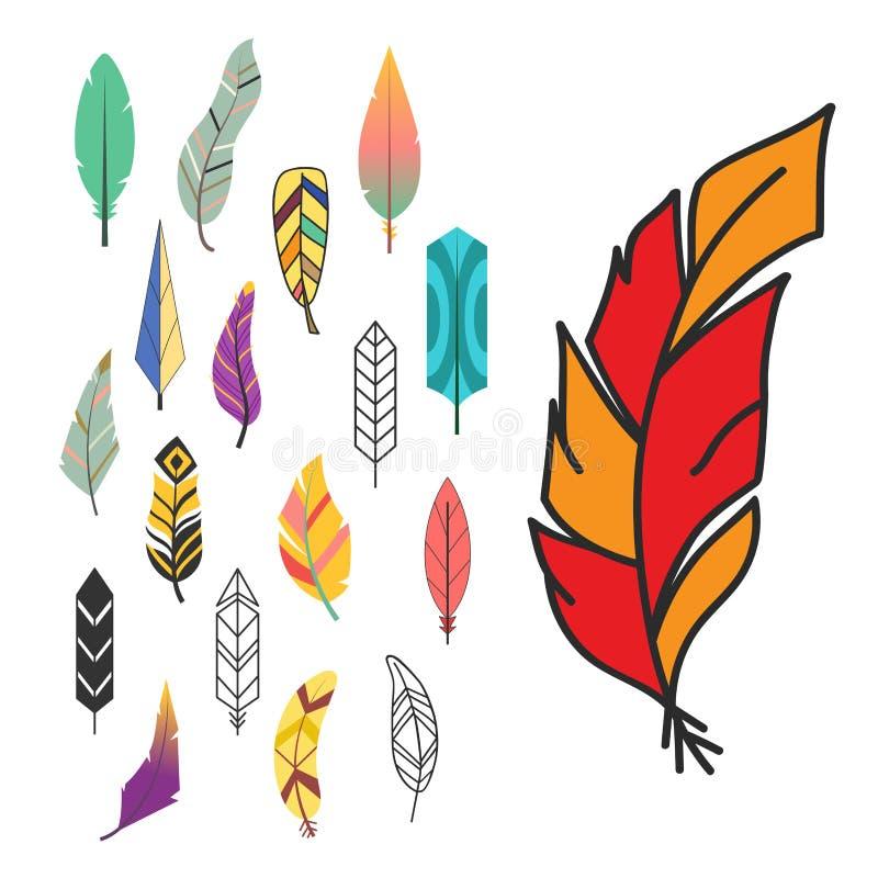 Spoletta decorativa della natura del disegno della piuma di stile dell'elemento disegnato a mano etnico variopinto d'annata diffe illustrazione vettoriale