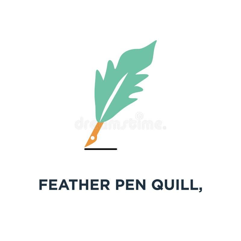 spoletta della penna della piuma, icona dell'inchiostro simbolo di concetto del segno della penna di calligrafia royalty illustrazione gratis