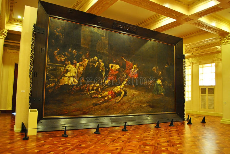 Spoliarium Painting. A famous painting by Filipino artist Juan Luna. The painting first gold medal at the Exposición Nacional de Bellas Artes in 1884 in royalty free stock photo
