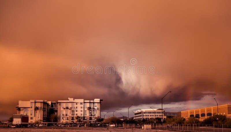 Spolveri la tempesta dello stust sopra Phoenix, Scottsdale, Az, su 12/29/2012 immagini stock libere da diritti