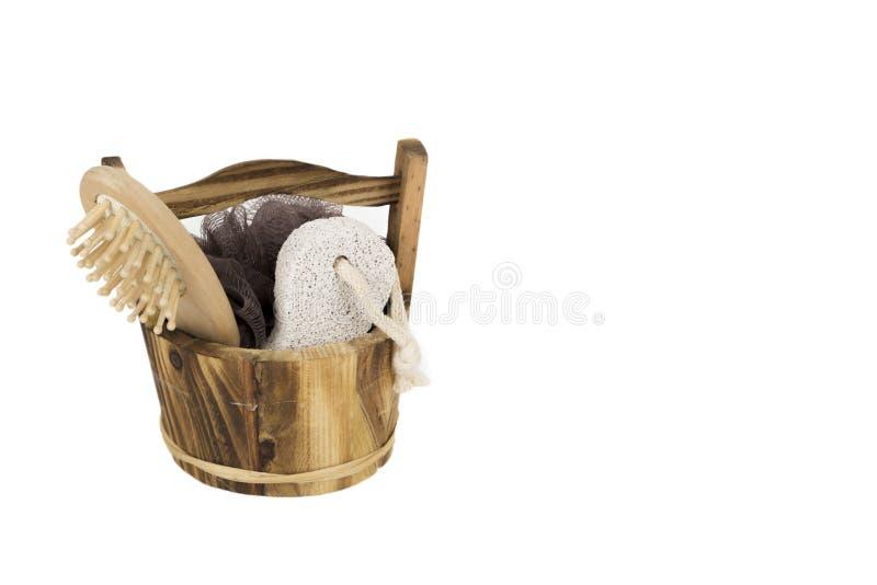 Sponch de la piedra pómez del cepillo de los productos del balneario del baño fotos de archivo libres de regalías