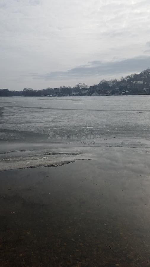 Sponde del fiume ghiacciate fotografia stock libera da diritti