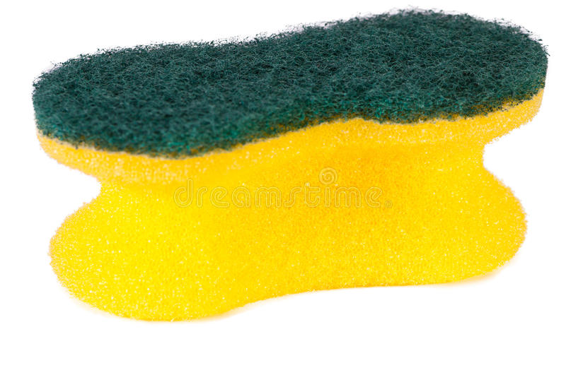Sponge. Isolated on the white background. Yellow s for washing royalty free stock photos