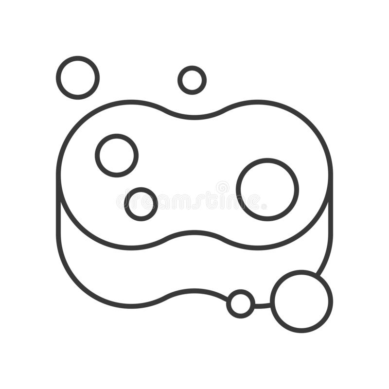 Sponge and bubble, cleaning service related, outline icon.  vector illustration