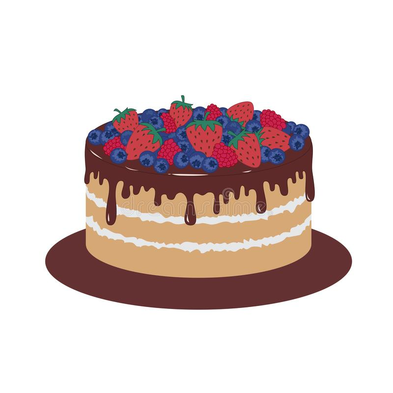 Sponge cake with chocolate icing and berries. Vector illustration royalty free stock photography
