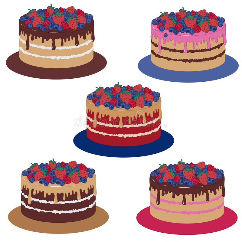 Sponge cake with chocolate icing and berries. Vector illustration. Set stock images