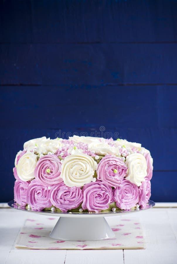 Sponge cake with cream cheese stock photography