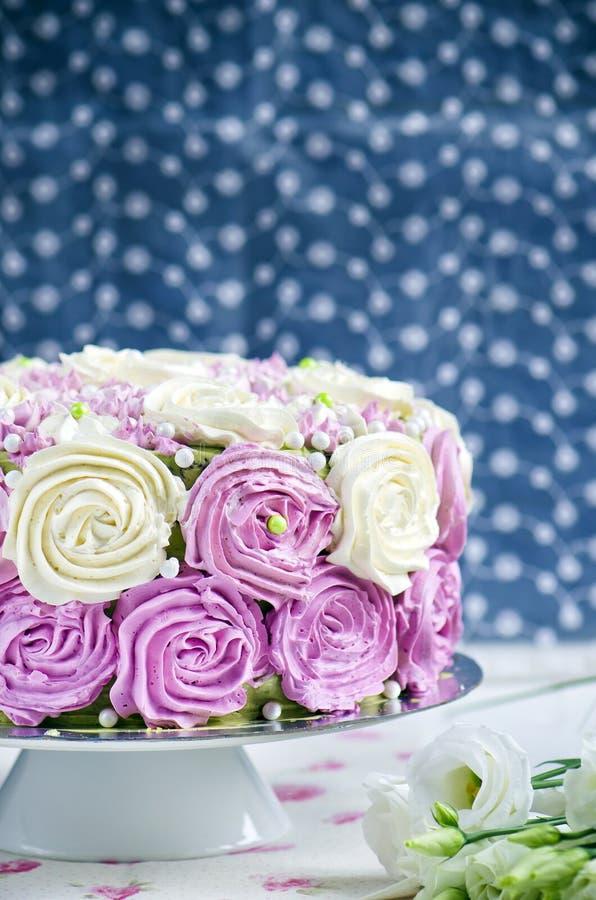 Sponge cake with cream cheese stock image