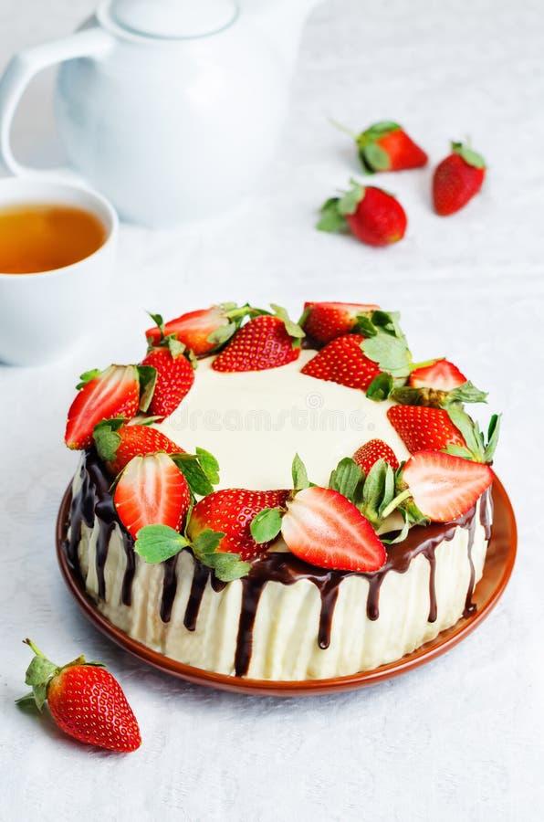 Sponge cake with cream, chocolate and strawberry stock image