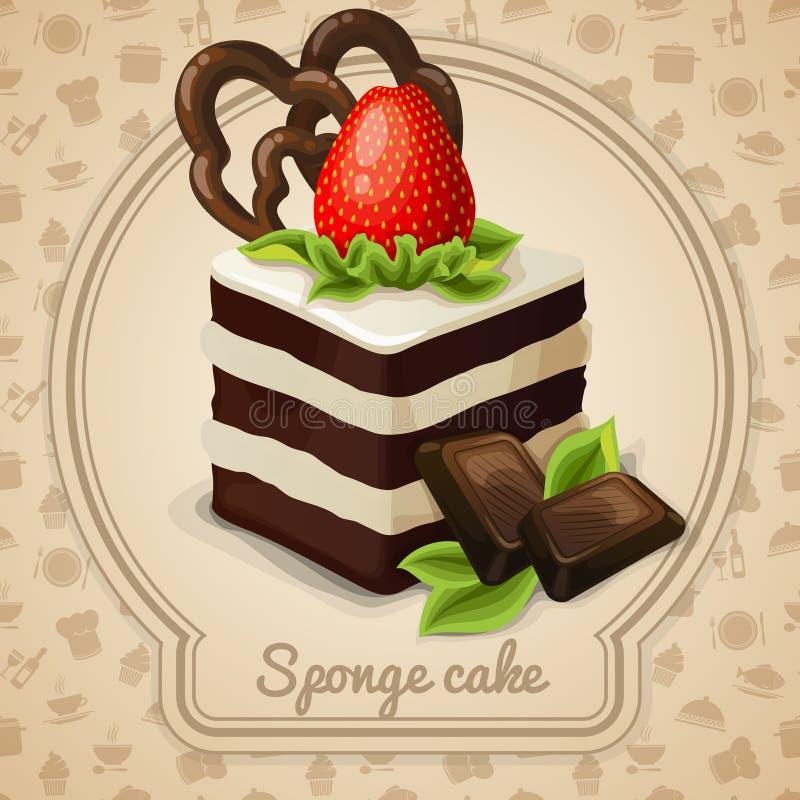 Sponge cake label vector illustration